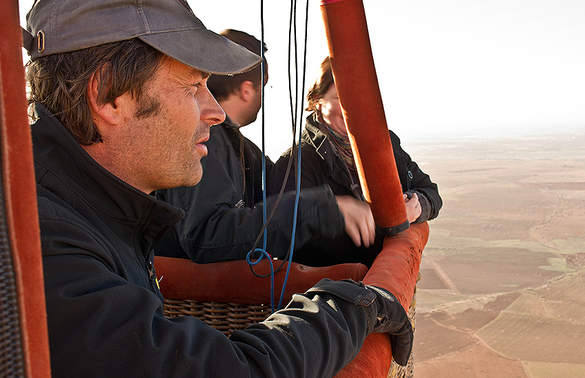 Michel Ries in a hot air balloon ride over Morocco