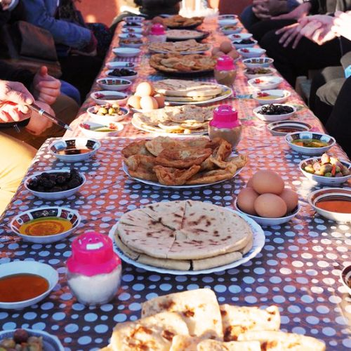 Sharing typical local breakfast after a Marrakech Hot Air Balloon ride